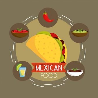Chili avec des sauces épicées et des tacos