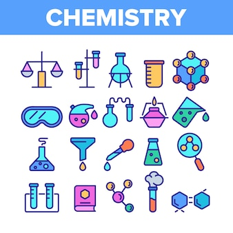 Chimie elements icons set