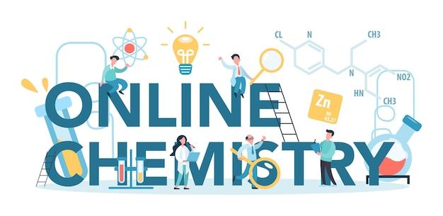 Chimie en ligne étudiant le concept typographique. cours en ligne ou webinaire pour l'apprenant. expérience scientifique en laboratoire avec un équipement chimique.