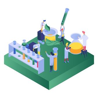 Chimie, science expérimentale, hommes et femmes mènent des expériences d'essai sur la conception de diverses substances, illustration de dessin animé.