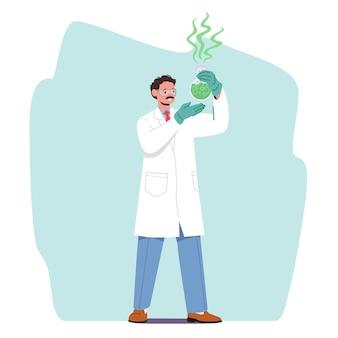 Chimiste faisant des recherches scientifiques, des expériences ou des tests médicaux en laboratoire. personnage masculin en robe blanche en laboratoire de chimie