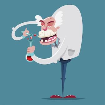 Un chimiste fou en costume de laboratoire muni d'un tube à essai en verre constitue une expérience scientifique. personnage de dessin animé de vecteur d'un ancien professeur.