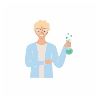 Un chimiste masculin tient un tube à essai avec des ingrédients. l'assistant de laboratoire met en place une expérience. caractère vectoriel plat. professeur de chimie et biologie.