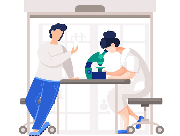 Les chimistes professionnels de leur laboratoire font différentes expériences sur la table. travailleur médical féminin en laboratoire avec microscope. enseignement des sciences de la chimie en laboratoire, recherche et expérimentation