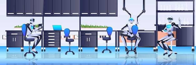 Chimistes robotiques faisant des expériences chimiques en laboratoire génie génétique concept d'intelligence artificielle laboratoire intérieur horizontal pleine longueur