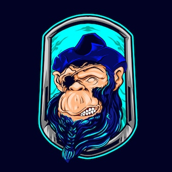 Chimpanse de l'illustration des pirates