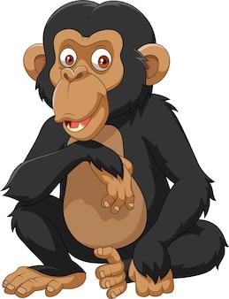 Chimpanzé de dessin animé isolé sur fond blanc