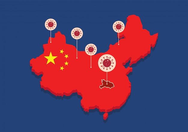 Chine carte pays coronavirus concept