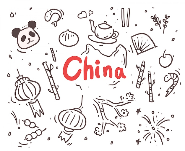 Chine dessiné à la main