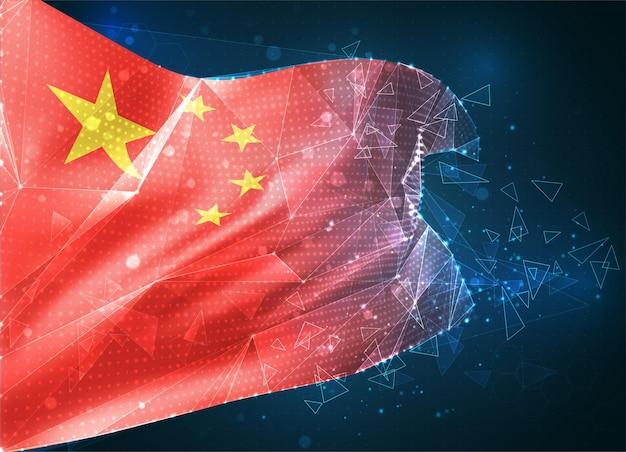 Chine, drapeau vectoriel, objet 3d abstrait virtuel à partir de polygones triangulaires sur fond bleu