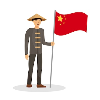 Chinese man holding china flag vector illustration
