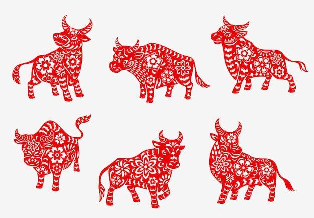 Chinois 2021 nouvel an zodiaque taureau ou bœuf icônes d'animaux