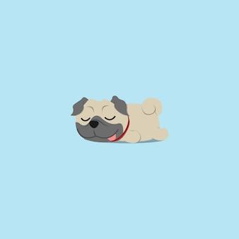 Chiot carlin paresseux dort conception d'icône plate