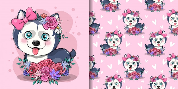 Chiot husky dessin animé mignon avec des fleurs