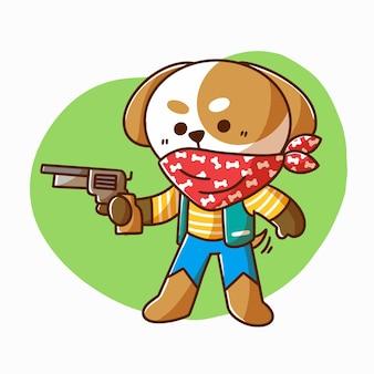 Chiot mignon jouant personnage cowboy doodle illustration actif