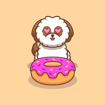 Chiot mignon shih-tzu aime donut cartoon icon illustration