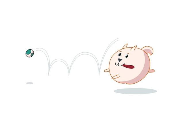 Chiot de poméranie attrapant la balle. illustration vectorielle dans un style dessin animé mignon