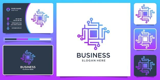Chip Digital Bastract Logo Et Carte De Visite Vecteur Premium