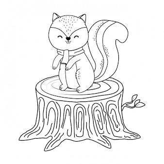 Chipmunk mignon dans le caractère bois tronc