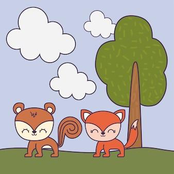 Chipmunk mignon avec le renard dans la scène du paysage