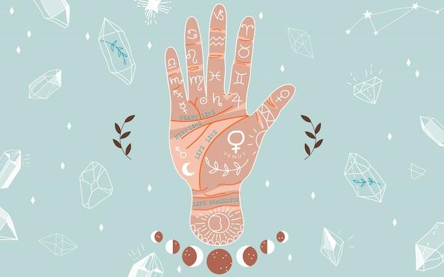 Chiromancie et hiéromancie. lignes à main et leurs significations. phases de lune. cristaux de formes variées. illustration dessinée à la main magique pour la conception web et print. main de chiromancie colorée à la mode.