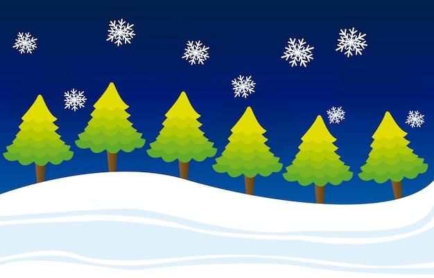 Chirstmas de paysage d'hiver mignon avec le vecteur de l'arbre