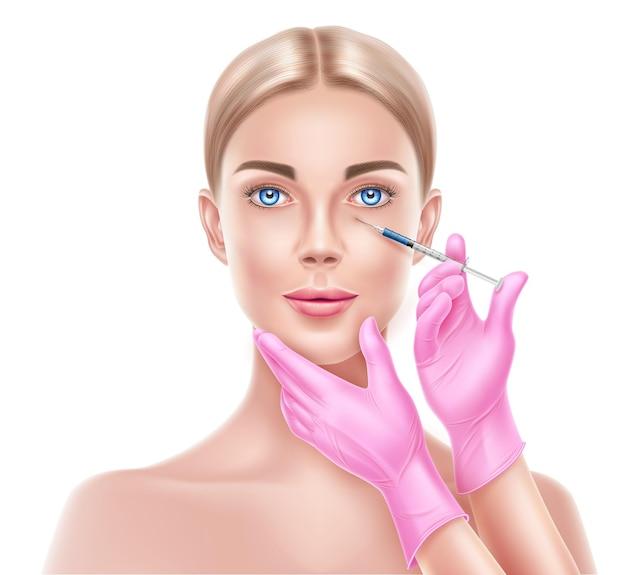 Chirurgie plastique du visage vectoriel avec les mains du médecin dans le gant avec une seringue faisant une injection au visage de la femme