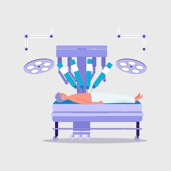 Chirurgie robotique - machine de chirurgien robot opérant sur l'homme de dessin animé allongé sur la table de l'hôpital