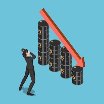 Choc d'homme d'affaires isométrique plat 3d lorsque le graphique des barils de pétrole diminue. concept de crise des prix du pétrole.