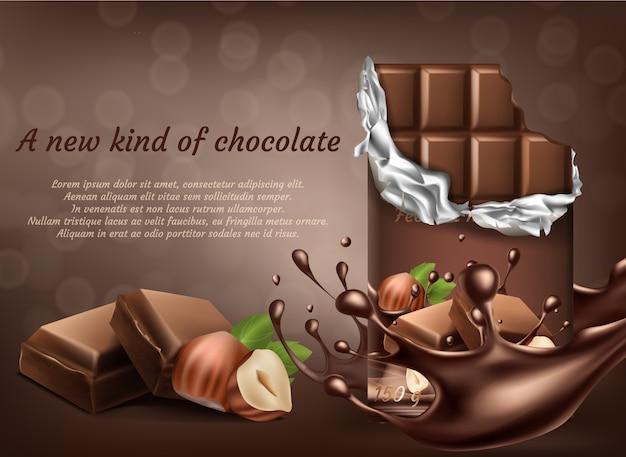Chocolat 3d réaliste avec affiche publicitaire noisette, bannière avec gouttes de projections de liquide.