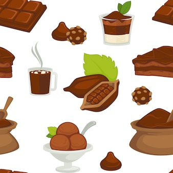 Chocolat et beurre de cacao sur le modèle sans soudure de variété de produits de tranche de pain.