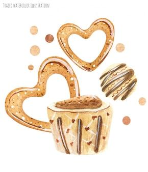 Chocolat blanc et biscuits