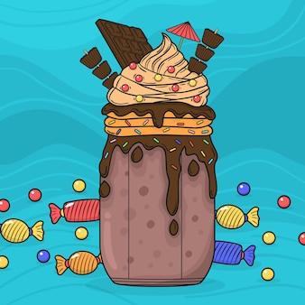 Chocolat et bonbons secoués de monstres dessinés à la main
