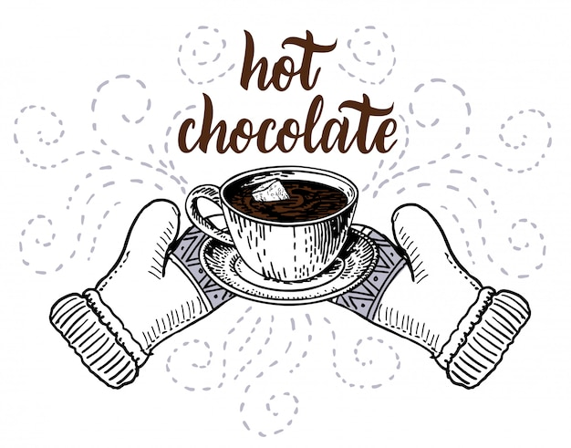 Chocolat chaud avec des guimauves dans un croquis de tasse. élément d'élément de conception de carte de voeux de vacances d'hiver isolé sur fond blanc.