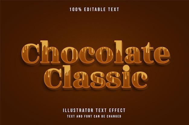 Chocolat classique, effet de texte modifiable 3d dégradé jaune style de texte ombre brune