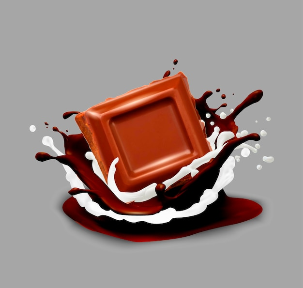 Chocolat dans les éclaboussures. illustration vectorielle