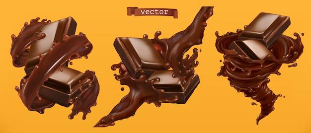 Chocolat et éclaboussures. vecteur réaliste 3d