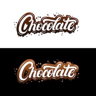 Chocolat lettrage manuscrit avec éclaboussures et stries.
