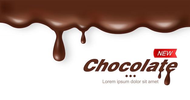 Chocolat réaliste, délicieux dessert, cacao foncé, fond blanc