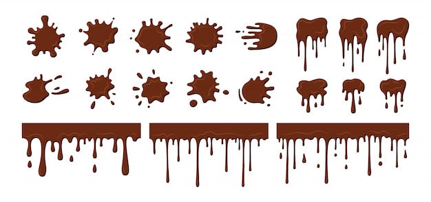 Le chocolat ruisselle dégoulinant, ensemble de blob. éclaboussures actuelles de chocolat fondu, formes décoratives liquides. collection de formes de taches, gouttes d'éclaboussures, éclaboussures plates de dessin animé. illustration isolée