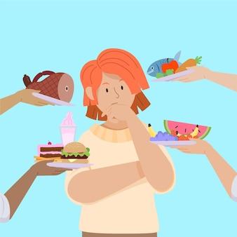 Choisir entre des aliments sains ou malsains