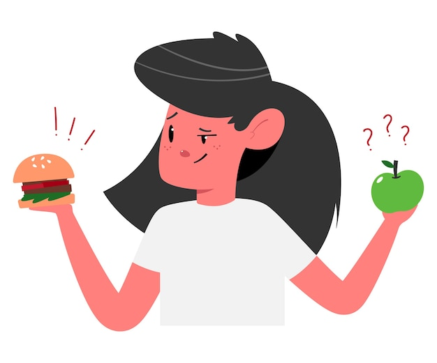 Choisir entre illustration de concept de nourriture saine et malsaine avec jolie fille avec personnage de dessin animé de hamburger et de pomme.