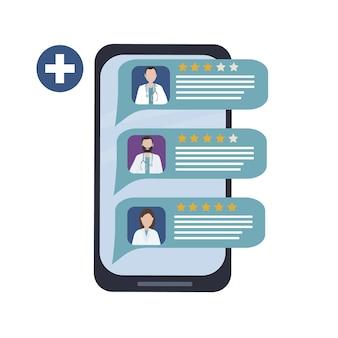 Choisir un médecin via l'application mobile pour la consultation médicale et le diagnostic en ligne