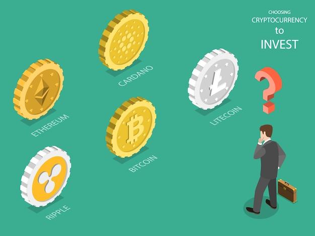 Choisir un vecteur isométrique plat de crypto-monnaie.