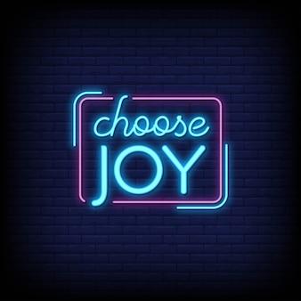 Choisissez le style de texte neon joy