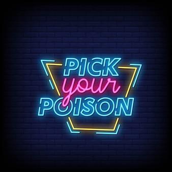 Choisissez votre vecteur de texte style signes néon poison
