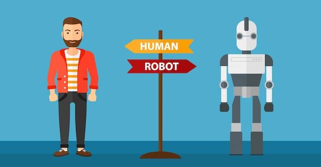 Choix entre intelligence artificielle et humain.