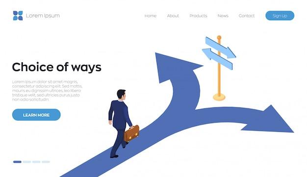 Choix de la page de destination des moyens. un homme d'affaires avec une mallette à la main marche sur la route d'un carrefour.