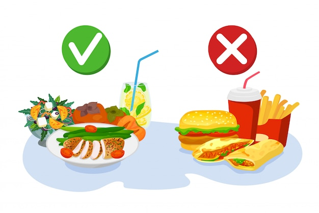 Choix sain et fast-food, bonne nutrition ou burger, illustration. suivre un mode de vie sain pour un bon poids. mauvais pour la santé