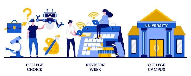 Choix universitaire, semaine de révision, concept de campus universitaire avec des personnes minuscules. jeu d'illustrations vectorielles abstraites de choix de carrière. prise de décision importante, établissement d'enseignement supérieur choisissant la métaphore.